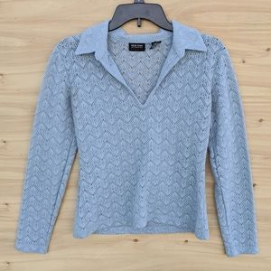 New York and Company Perforated Collared Blouse